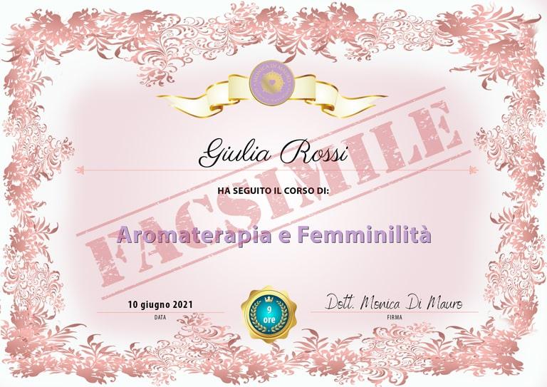 Attestato - Aromaterapia e Femminilità